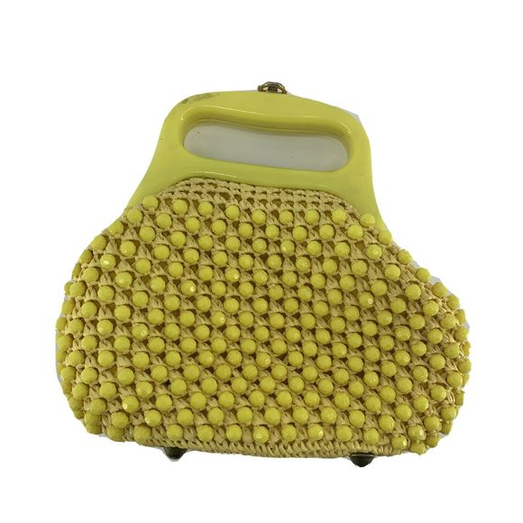 Vtg Crocheted Bag Fold Up Travel Compact Vintage Shopping Crochet Yellow Brown Vintage